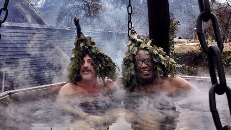 @mlauer and @alroker have an interesting day at Russian bath house. http://on.today.com/1bourZW  #SochiTODAY