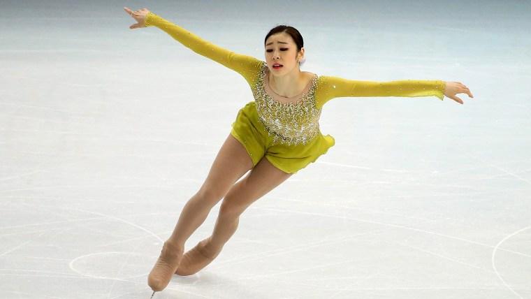 epa04089214 Kim Yuna of South Korea reacts after the Figure Skating Ladies Short Program at Iceberg Skating Palace during the Sochi 2014 Olympic Games...