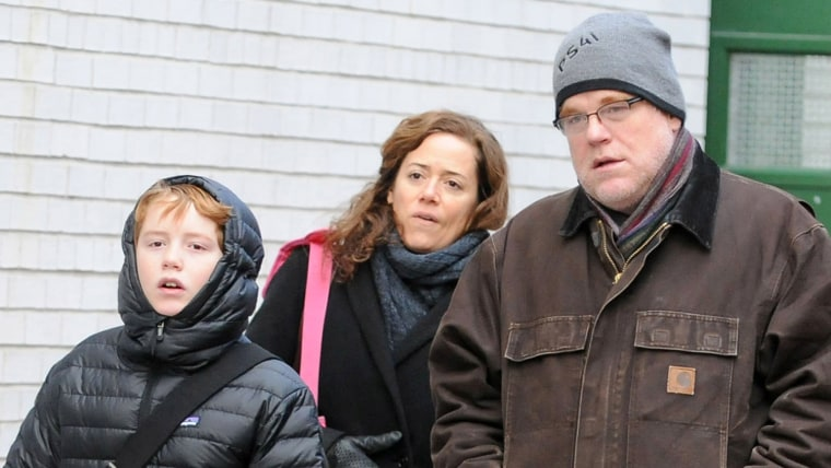 Philip Seymour Hoffman and Mimi O'Donnell are seen with their son, Cooper Hoffman,  on Dec.16, 2013, in New York City. The actor was found dead in his apartment on Feb. 2.