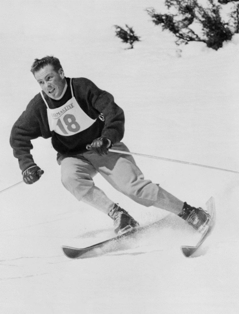 French skier Jean Vuarnet zooms down a hill in Feb. 1960, at the Winter Olympic Games in Squaw Valley. The courses are still in use for skiers.