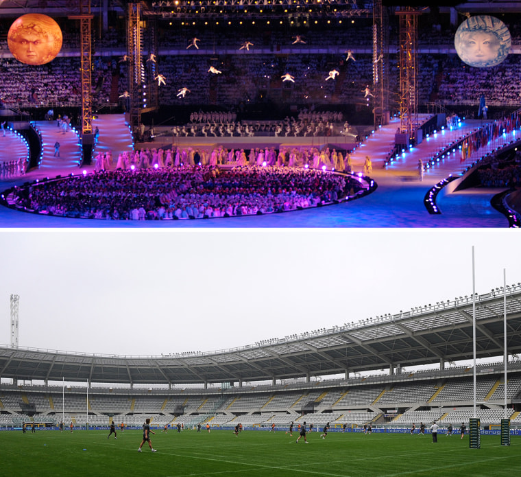 The Opening Ceremony of the 2006 Torino Games (top), and the stadium in 2013, used for a rugby match.