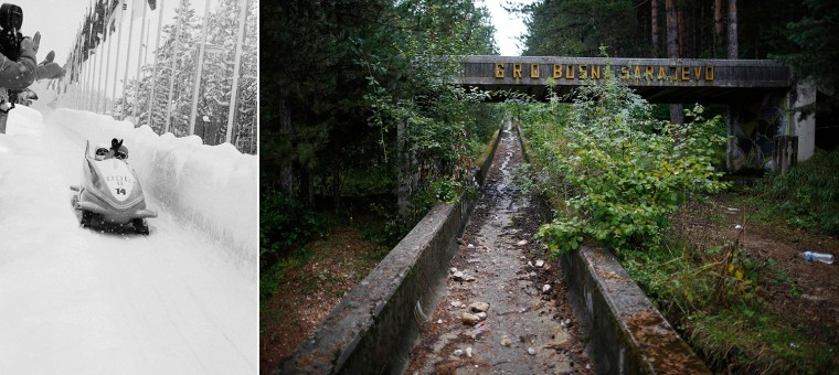 Haunting side-by-side images shows German competitors (left) during the Games in Sarajevo, 1984, compared with the same bobsled track in disrepair.