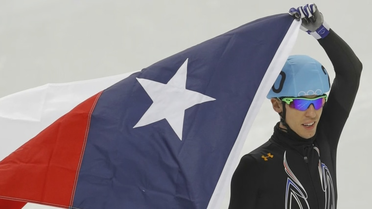 "After the win, speedskater Jordan Malone brought out the flag from his home state of Texas. ""I could almost hear the roar from Texas when you whipped that flag out,"" said TODAY's Lester Holt."