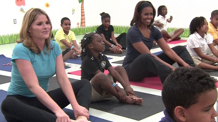 Jenna Bush Hager and First Lady Michelle Obama help some kids get active with yoga in a segment airing on TODAY Friday.