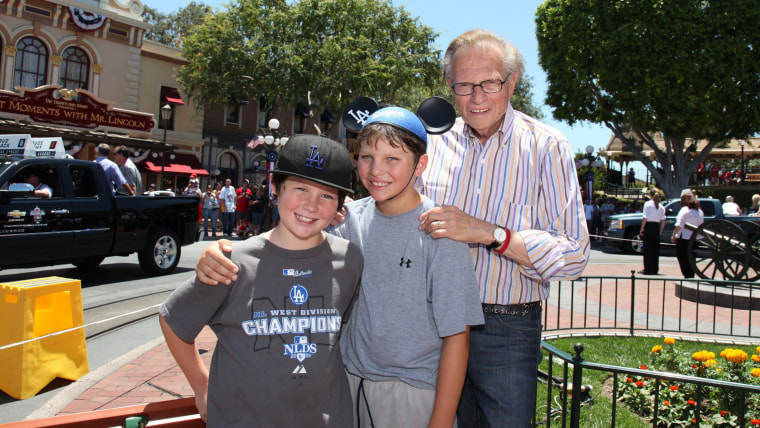 ANAHEIN, CA - JULY 13:  In this handout photo provided by Disney, CNN host Larry King, sons Chance (11) and Cannon (10) watch the MLB All-Star Red Car...