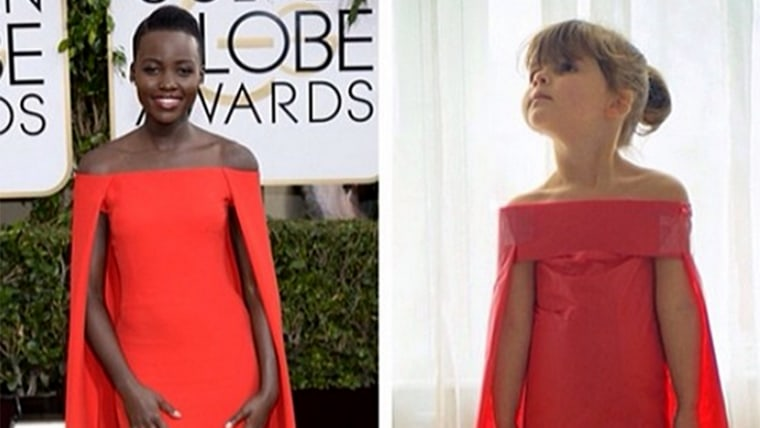 Among Mayhem's favorites is the red dress worn by actress Lupita Nyong'o wore at the Golden Globes, which Angie says took 10 minutes to make.