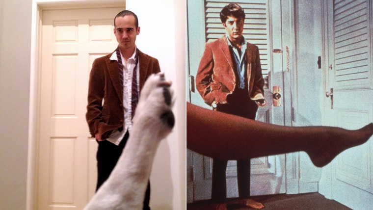 "Chris Naka and Wrigley the dog recreate a famous scene from the movie ""The Graduate."""