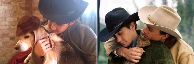 "Chris Naka and Wrigley the dog recreate a scene from ""Brokeback Mountain."""