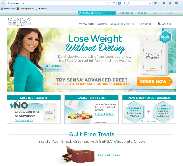 http://www.sensa.com/ The FTC says Sensa and other companies touting weight-loss miracles are guilty of false advertising. The company's agreed to pa...