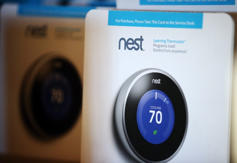 SAN RAFAEL, CA - JANUARY 13: The Nest Learning Thermostat is displayed at a Home Depot store on January 13, 2014 in San Rafael, California. Google an...