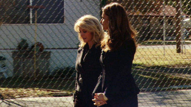 Davis shows Shriver the mobile home park she used to live in while a young, single mother.