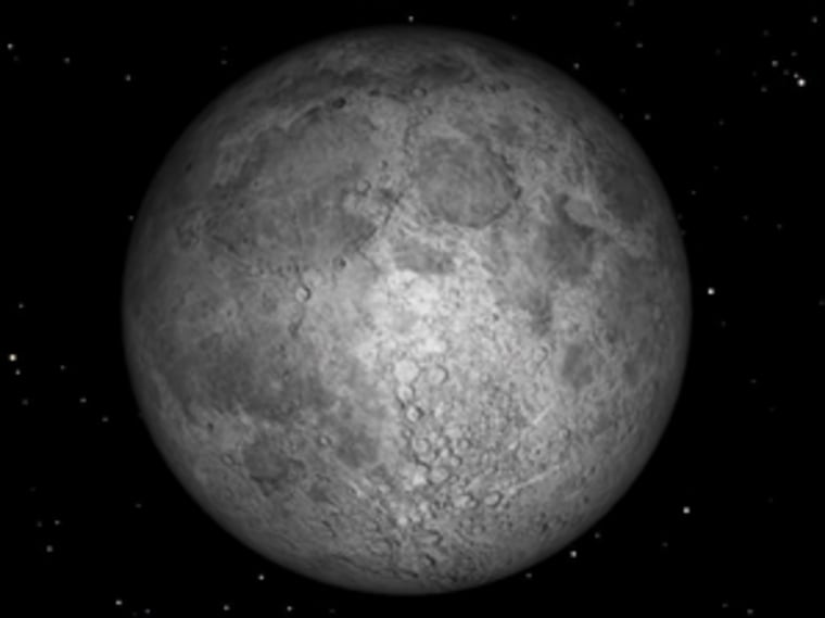 The Minimoon rising in the sky on Jan. 15, 2014 is pictured to the left. For comparison, on the right is a depiction of the Supermoon that will rise in Aug. 10, 2014.
