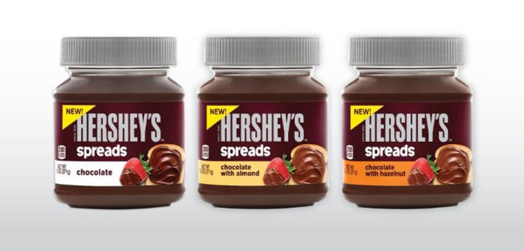 This photo provided by Hershey's shows a new line of chocolate spreads, including a hazelnut variety reminiscent of Nutella, a spread made by the Ita...