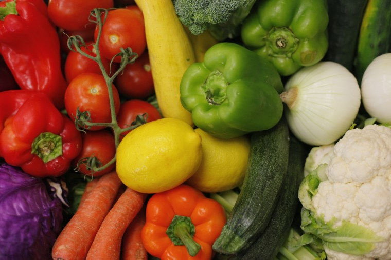Photo taken at the Bruce Randolph School In Denver, shows fresh fruits and vegetables
