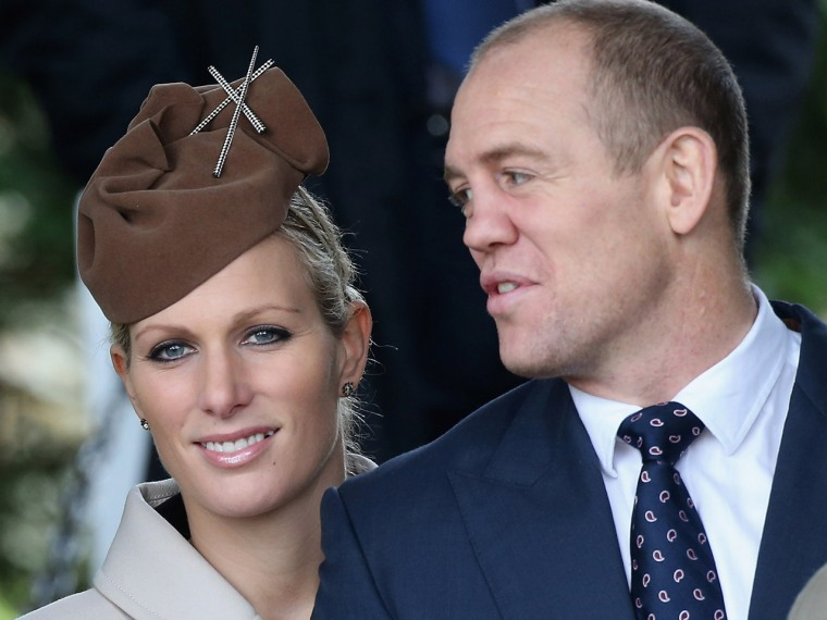KING'S LYNN, ENGLAND - DECEMBER 25:  (L-R) Autumn Phillips, Mike Tindall and Zara Phillips attend the traditional Christmas Day church service at St M...