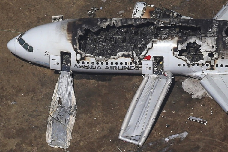 An Asiana Airlines Boeing 777 plane is seen after it crashed while landing at San Francisco International Airport in California, in this file aerial view taken July 6, 2013.