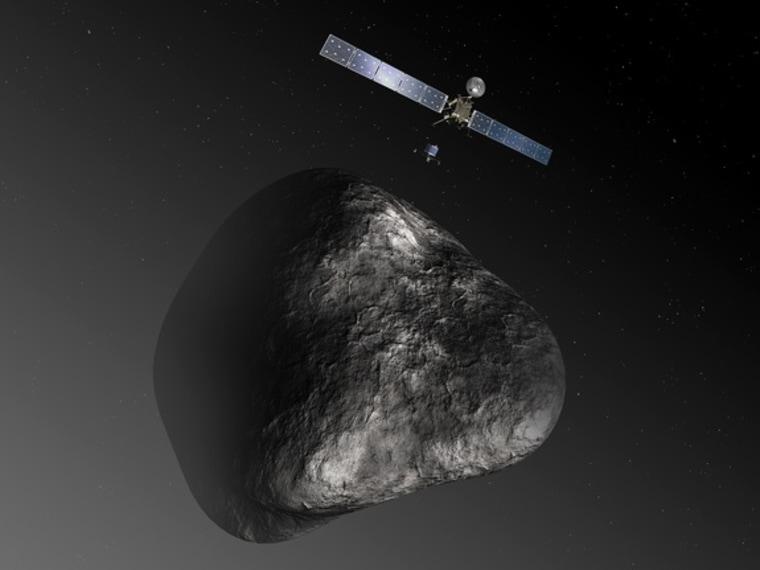 An artist's impression of the Rosetta orbiter deploying the Philae lander to comet 67P/Churyumov–Gerasimenko in August 2014.