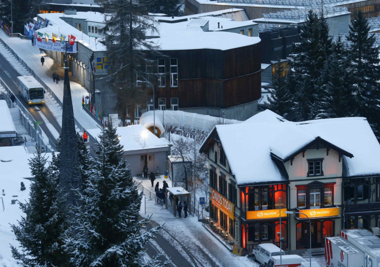 An overview shows the congress centre for the annual meeting of the World Economic Forum (WEF) 2014 in the early morning in Davos January 21, 2014. Th...