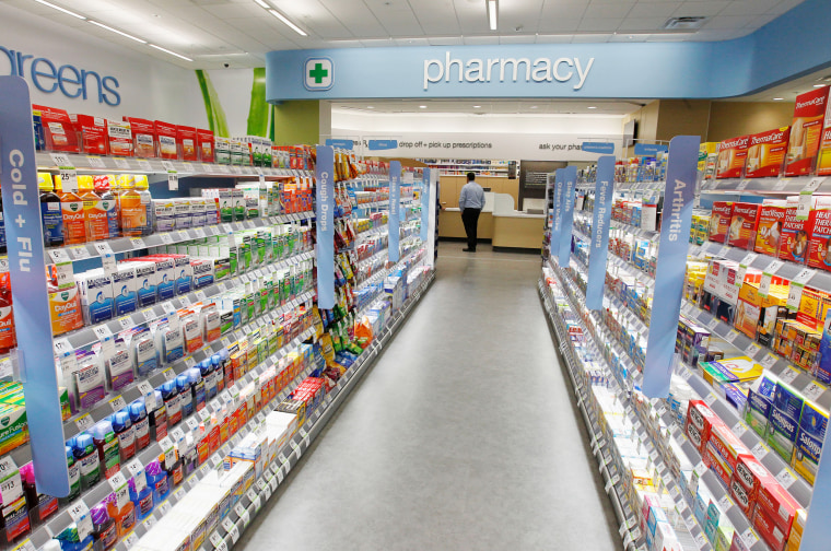 Cold and flu products are pictured on shelving during a private cocktail event celebrating the grand opening of drugstore chain Walgreens newest flags...