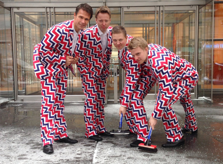 The Norway men's curling team has stepped up its pants game for Sochi, unveiling its distinctive new look after making a splash with its loud pants at the 2010 Olympics in Vancouver.