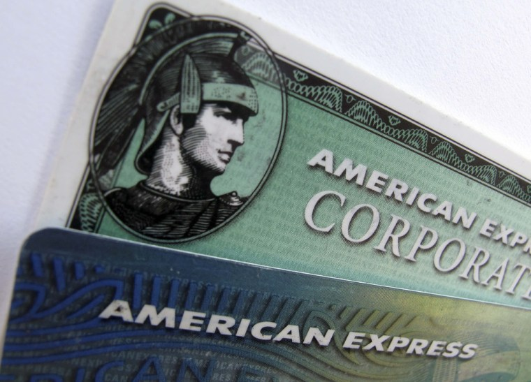 American Express and American Express corporate cards are pictured in Encinitas, California in this file photo from October 17, 2011. The credit card ...