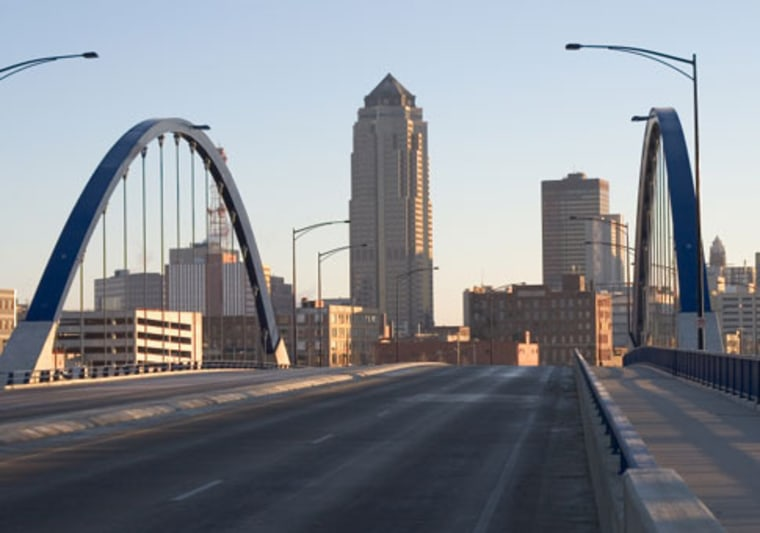 Des Moines, Iowa's capital, where the cost of living is almost 10 percent below the rest of the country.