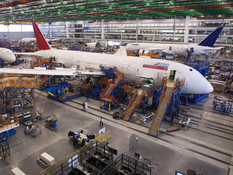 A 787 Dreamliner being built for India Air is pictured at South Carolina Boeing final assembly building in North Charleston, South Carolina in this De...