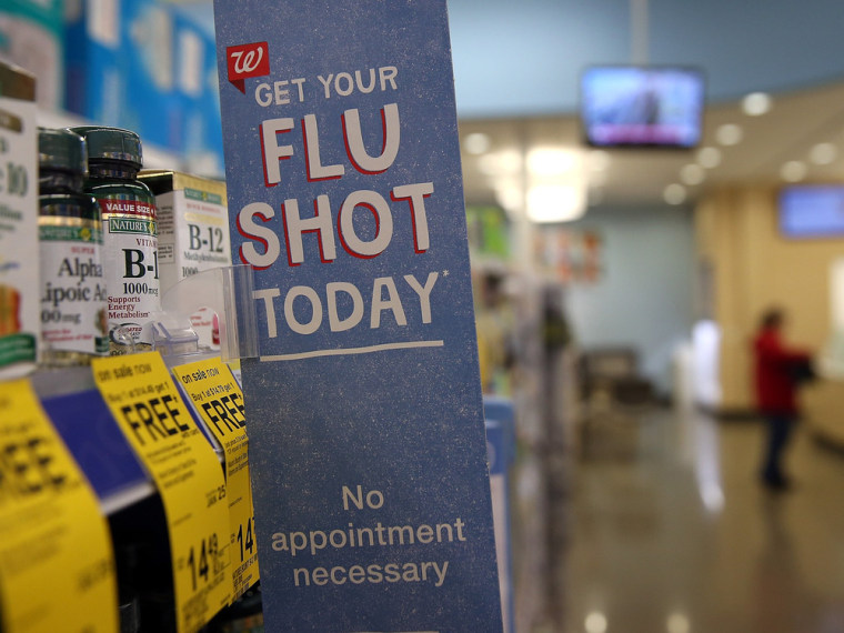A sign advertising flu shots is displayed at a Walgreens Pharmacy on January in Concord, California.