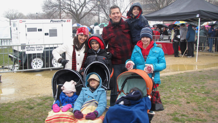 """Democracy is often messy and sometimes very, very cold: Rachel Campos-Duffy and her husband Sean Duffy with their six kids, all bundled up for the """"March for Life"""" in Washington, D.C."""