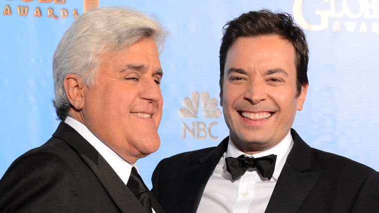 Jimmy Fallon and Jay Leno pose together at the Golden Globes in January, 2013. Fallon is set to take over from Leno in February.