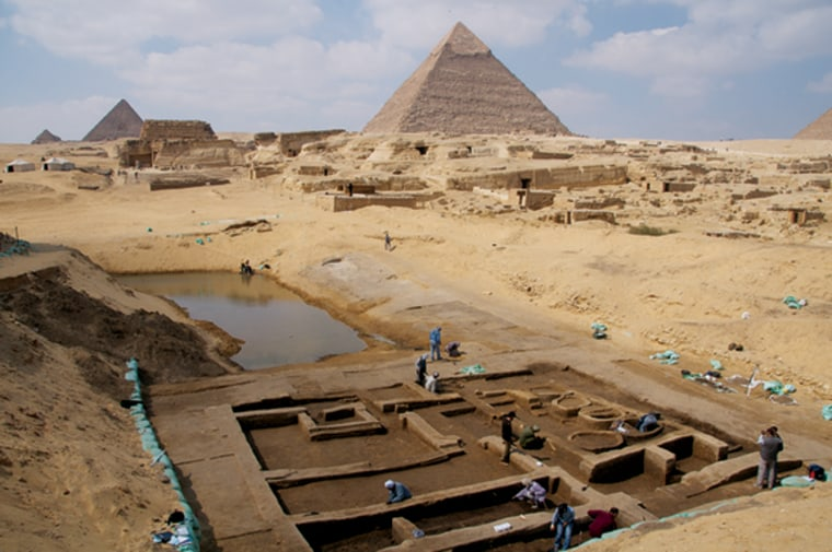 Archaeologists working at the Giza Pyramids have made several new discoveries that shed light on life at the time the pyramids were built. Among the discoveries is a basin that may have been part of a thriving harbor and a