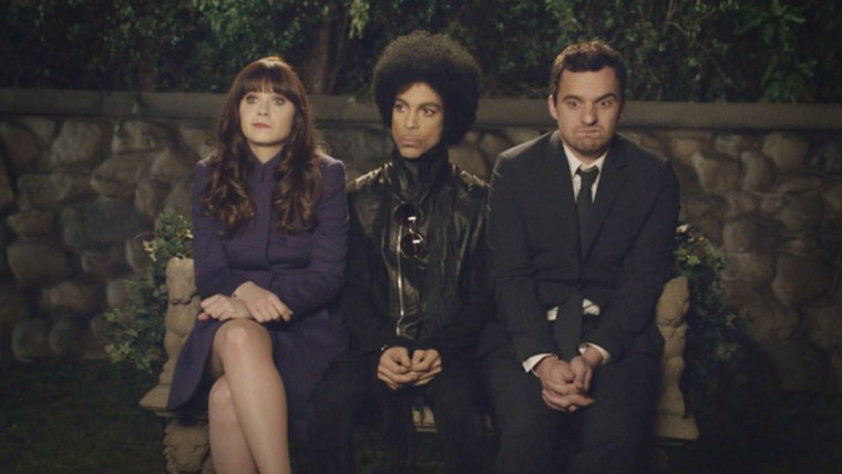 """Prince gives relationship advice to Jess (Zooey Deschanel) and Nick (Jake Johnson) in Sunday's post-Super Bowl episode of """"New Girl."""""""