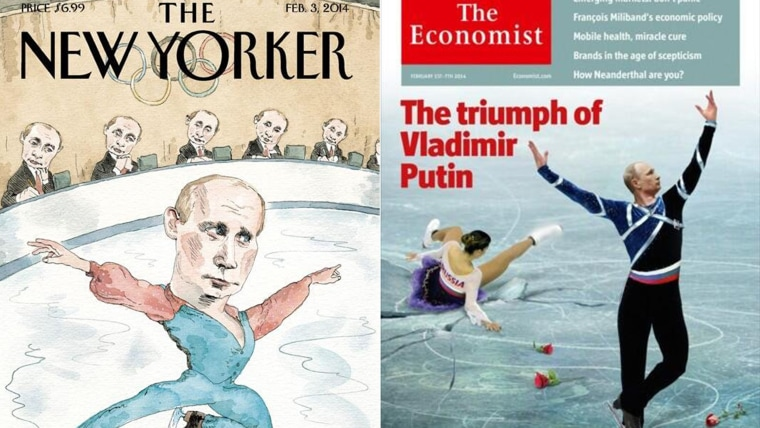 Spectacle on ice: Magazine covers poke fun at Russia's Putin
