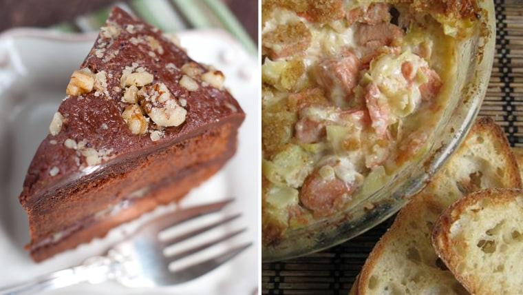 Chile-Chocolate Bourbon Cake; Hot Artichoke and Salmon Dip