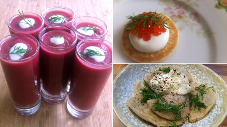 Make a Russian feast to celebrate the Olympics! From left: Borscht shooters, blini with caviar and dumplings with meat.
