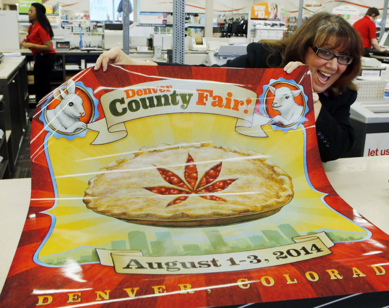 Dana Cain, director of the Denver County Fair, showDana Cain, director of the Denver County Fair, shows a poster advertising the fair on Monday. Colorado's Denver County is adding cannabis-themed events to its 2014 summer fair. s a poster advertising the fair on Monday. Colorado's Denver County is adding a cannabis-themed contest to its 2014 summer fair.