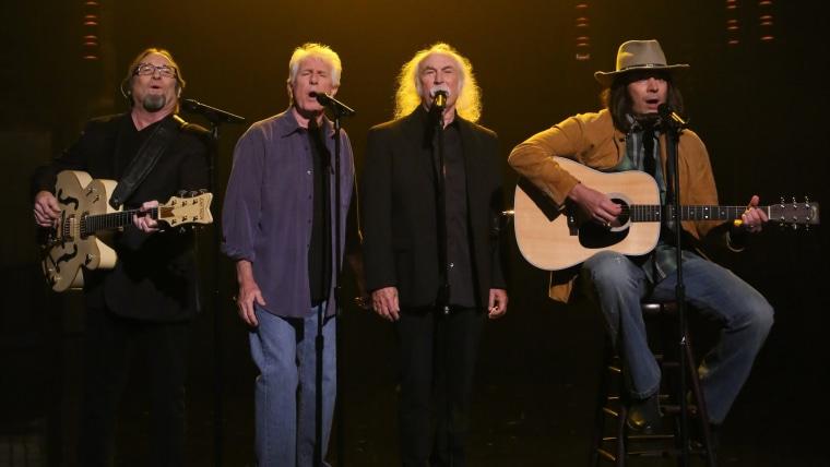 Image: Stephen Stills, Graham Nash and David Crosby with Jimmy Fallon