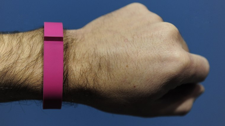 """The """"Flex"""", an """"electronic coach"""", device by Fitbit is presented at the Mobile World Congress in Barcelona, on February 24, 2014.  The Mobile World Co..."""