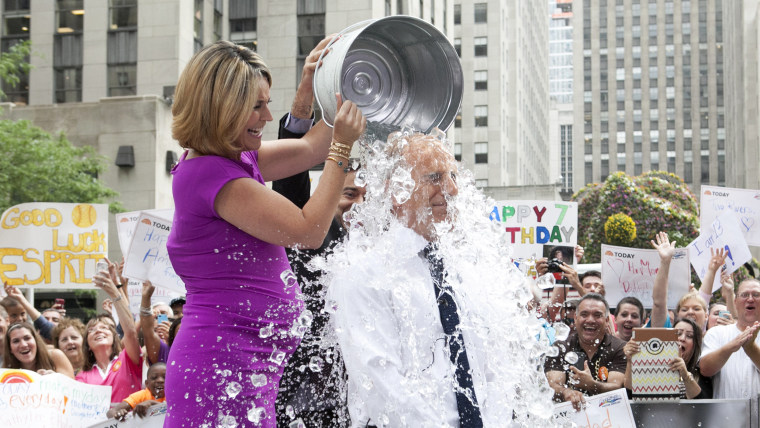 """TODAY Show: Matt Lauer participates in the viral sensation known as the """"ice bucket challenge"""" on the plaza on July 15, 2014."""