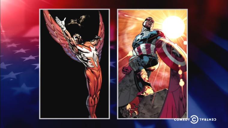 Image: The Falcon and The Falcon as Captain America.
