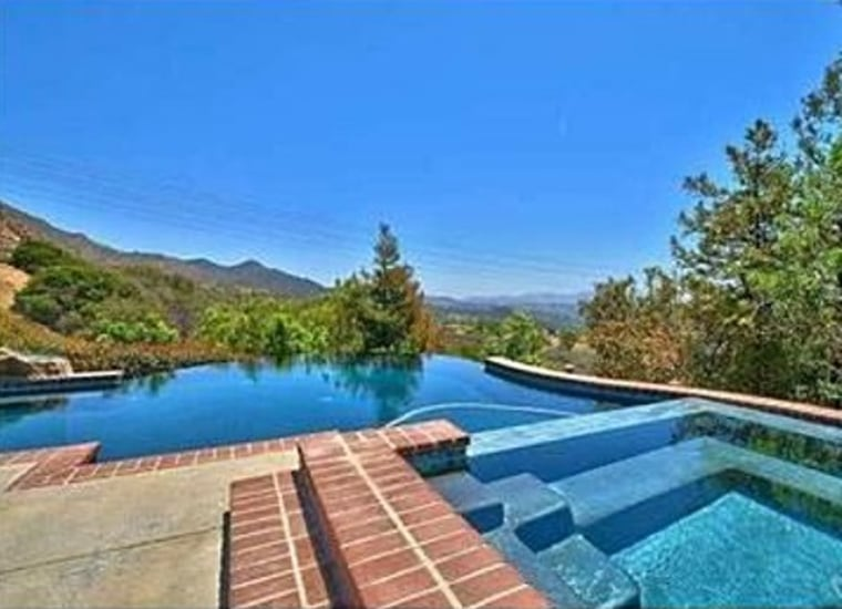 The view from the pool at Charlie Sheen's four-bedroom, four-bathroom home.