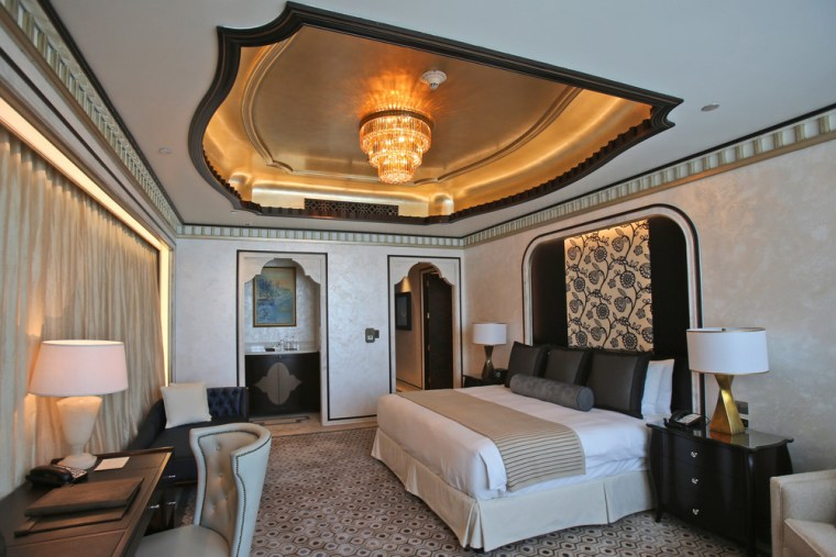 Image: This May 19, 2014 photo shows one of the three bedrooms in the Abu Dhabi Suite at the St. Regis in Abu Dhabi, United Arab Emirates. The two-story suite is priced at $21,500 a night.
