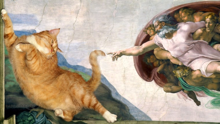 Fat cat! 22-pound feline appears in 'Mona Lisa' and other famous artworks