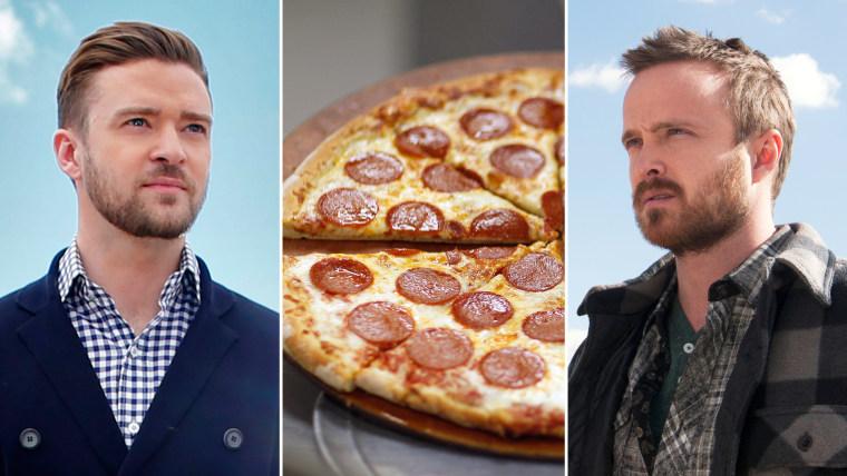 Celebrity slice of life: Justin Timberlake, Aaron Paul bond over TV, pizza