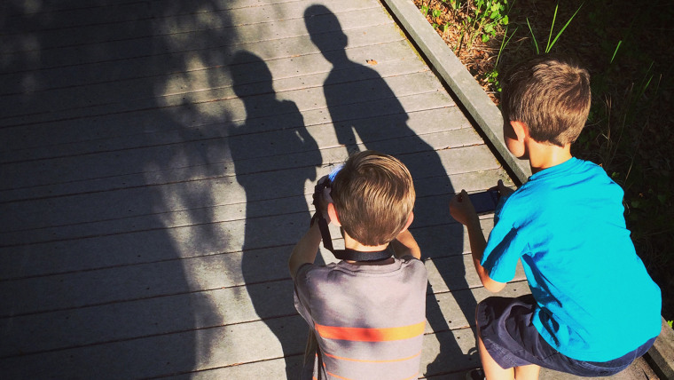 Jay and Chris Gaddis shoot shadows on their photo safari at Booker Creek Reserve near Tarpon Springs, Florida.