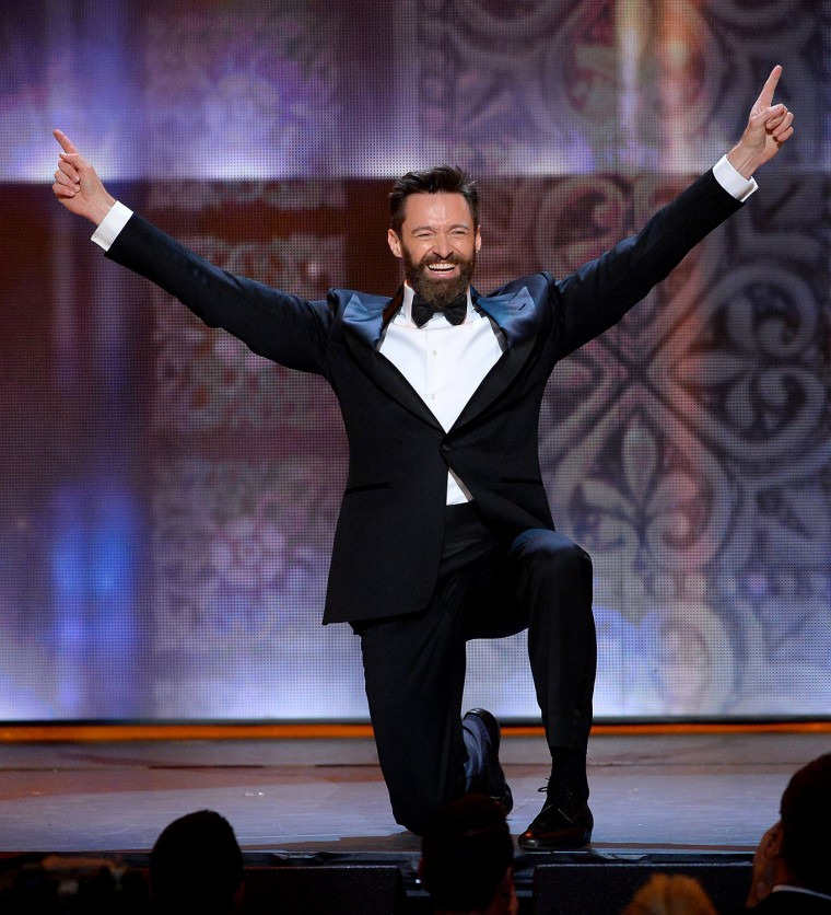It's Wolverine in tap shoes! Hugh Jackman barely breaks a sweat as host for the 68th Tony Awards.