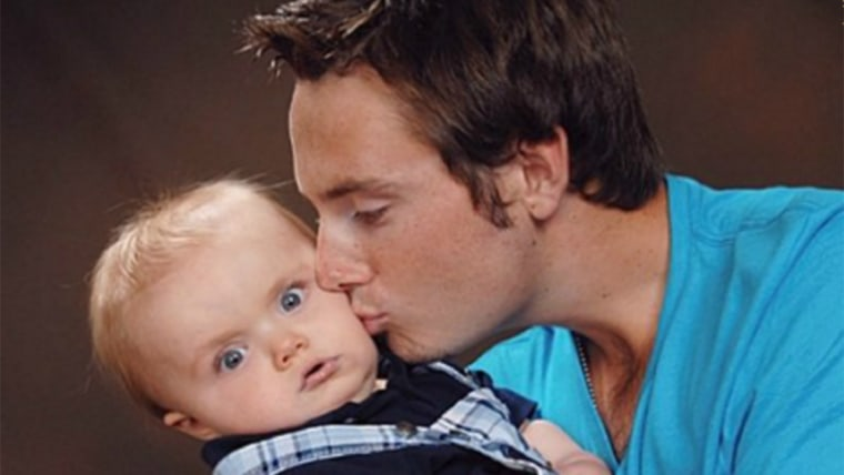 Image: Dad kissing his very skeptical-looking baby