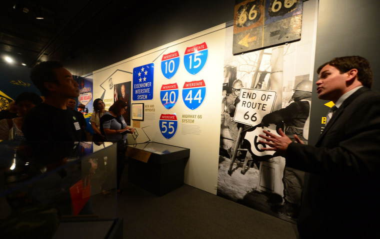 "Curator Jeffrey Richardson speaks during a media preview of the exhibition ""Route 66: The Road and the Romance"" on June 6 at the Autry National Center of the American West in Los Angeles."