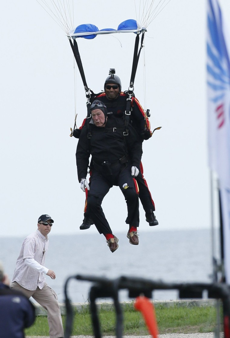 The elder Bush also went skydiving for his 80th and 85th birthdays, and vowed two years ago when he turned 88 that he would skydive one last time on his 90th birthday.