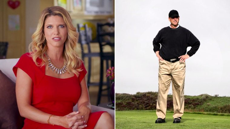 Sarah Harbaugh, left, is on a campaign to combat her husband Jim's (former) trademark look.